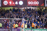 Delighted Leicester City fans at full time during the Carabao Cup match between Sheffield United and Leicester City at Bramall Lane, Sheffield, England on 22 August 2017. Photo by James Williamson / PRiME Media Images.