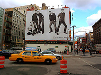 A Calvin Klein Jeans billboard in the Soho neighborhood of New York on Tuesday, November 18, 2008.  Klein's advertisements use sex and provocative images to test society's cultural and moral boundries. (© Richard B. Levine)