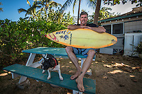 North Shore of Oahu, Hawaii Wednesday December 10 2014) - Shaper Jon Pyzel (HAW) with the first surfboard he ever shaped for John John Florence (HAW).Photo: joliphotos.com