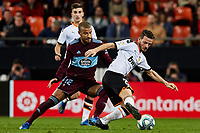 1st February 2020; Mestalla, Valencia, Spain; La Liga Football,Valencia versus Celta Vigo; Florenzi of Valencia is challenged by Rafinha of Celta