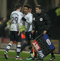 Preston North End's Tom Barkuizen i\ subbed by Preston North End's Callum Robinson<br /> <br /> Photographer Mick Walker/CameraSport<br /> <br /> The EFL Sky Bet Championship - Preston North End v Leeds United - Tuesday 10th April 2018 - Deepdale Stadium - Preston<br /> <br /> World Copyright &copy; 2018 CameraSport. All rights reserved. 43 Linden Ave. Countesthorpe. Leicester. England. LE8 5PG - Tel: +44 (0) 116 277 4147 - admin@camerasport.com - www.camerasport.com