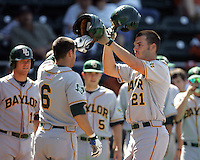 Baylor OF Ben Booker celebrates his HR against Texas on May 3rd, 2008. Photo by Andrew Woolley / Four Seam Images