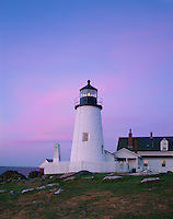 Lincoln County, ME<br /> Pemaquid Point Lighthouse (1835) with dawn colored sky above the Gulf of Maine, on Pemaquid Point