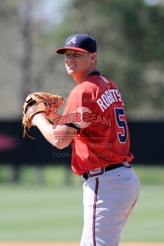 Pitcher Britt Robertshaw (5) of the Atlanta Braves farm system in a Minor League Spring Training workout on Monday, March 16, 2015, at the ESPN Wide World of Sports Complex in Lake Buena Vista, Florida. (Tom Priddy/Four Seam Images)