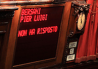 "Il tabellone elettronico durante la quinta seduta comune di senatori e deputati per l'elezione del nuovo Capo dello Stato alla Camera dei Deputati, Roma, 20 aprile 2013..The scoreboard reads ""Bersani Pier Luigi did not answer"", referring to the Italian Democratic Party's resigning leader Pier Luigi Bersani, who did not attend the fifth common plenary session of senators and deputies to elect the new Head of State, at the Lower Chamber in Rome, 20 April 2013..UPDATE IMAGES PRESS/Isabella Bonotto"