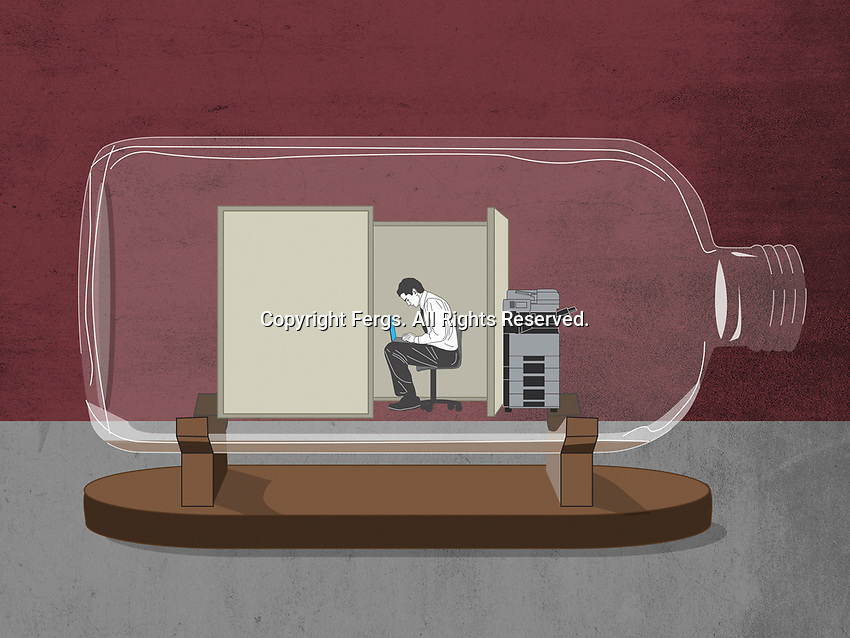 Isolated office worker trapped inside of bottle ExclusiveImage