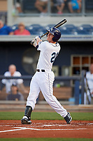 Charlotte Stone Crabs center fielder Jake Stone (21) follows through on a swing during a game against the Palm Beach Cardinals on April 20, 2018 at Charlotte Sports Park in Port Charlotte, Florida.  Charlotte defeated Palm Beach 4-3.  (Mike Janes/Four Seam Images)