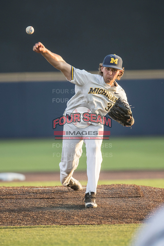 Michigan Wolverines pitcher Karl Kauffmann (37) delivers a pitch to the plate during the NCAA baseball game against the Eastern Michigan Eagles on May 16, 2017 at Ray Fisher Stadium in Ann Arbor, Michigan. Michigan defeated Eastern Michigan 12-4. (Andrew Woolley/Four Seam Images)