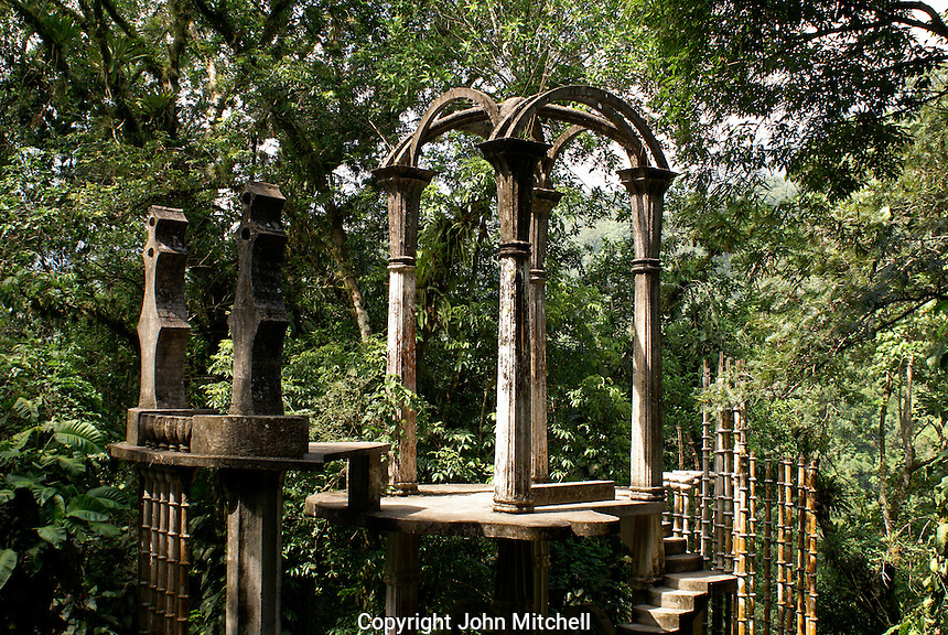 The Bamboo Palace at Las Pozas, the surrealistic sculpture garden created by Edward James  near Xilitla, Mexico