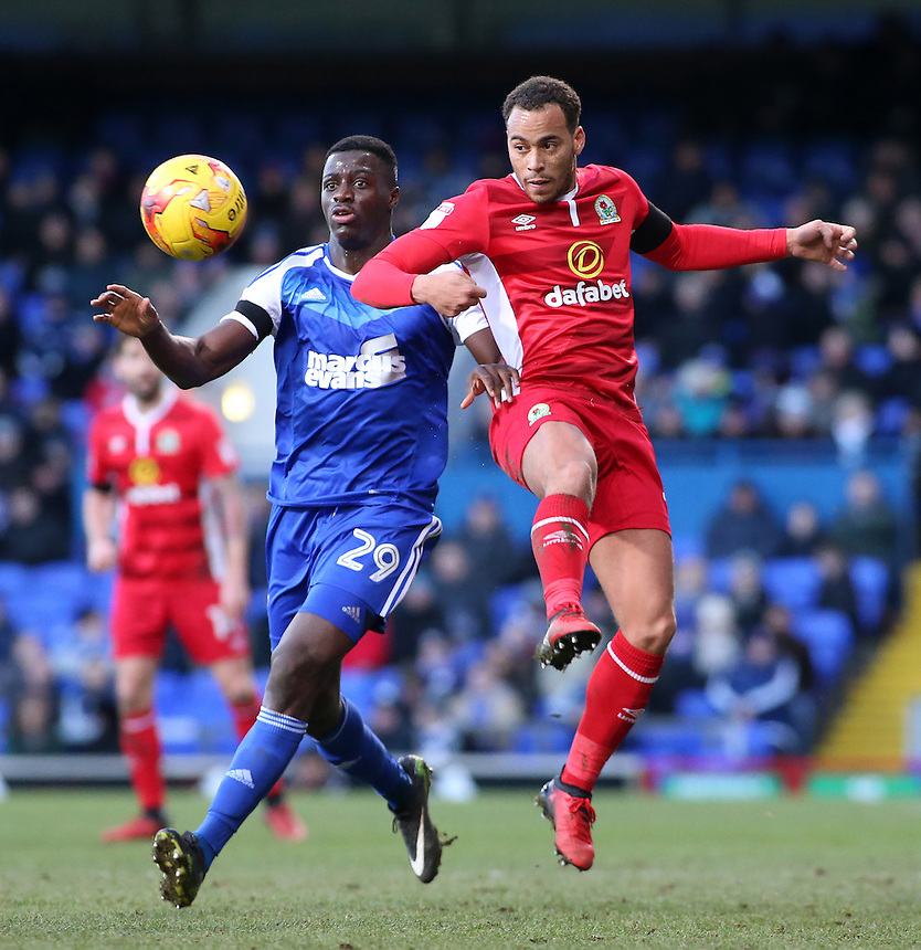 Blackburn Rovers' Elliott Bennett battles with Ipswich Town's Josh Emmanuel<br /> <br /> Photographer David Shipman/CameraSport<br /> <br /> The EFL Sky Bet Championship - Ipswich Town v Blackburn Rovers - Saturday 14th January 2017 - Portman Road - Ipswich<br /> <br /> World Copyright &copy; 2017 CameraSport. All rights reserved. 43 Linden Ave. Countesthorpe. Leicester. England. LE8 5PG - Tel: +44 (0) 116 277 4147 - admin@camerasport.com - www.camerasport.com