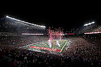 The Ohio State Buckeyes run onto the field before the college football game between the Ohio State Buckeyes and the Penn State Nittany Lions at Ohio Stadium in Columbus, Saturday evening, October 17, 2015. As of half time the Ohio State Buckeyes led the Penn State Nittany Lions 21 - 3. (The Columbus Dispatch / Eamon Queeney)