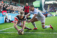 Brendon O'Connor of Leicester Tigers scores a try in the first half. European Rugby Champions Cup match, between Leicester Tigers and Racing 92 on October 23, 2016 at Welford Road in Leicester, England. Photo by: Patrick Khachfe / JMP