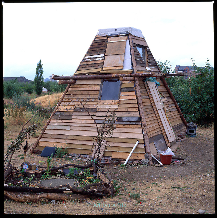 Homemade house on the site of the Wandsworth Eco village.