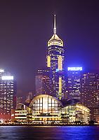 Hong Kong skyline above Victoria Harbour at dusk, Hong Kong SAR, China, Asia