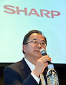 February 1, 2013, Tokyo, Japan - President Takashi Okuda of Japan's Sharp Corp. announces the company's third-quarter earnings during a news conference at a Tokyo hotel Friday evening, February 1, 2013. In the three months to Dec. 31, Japanese electronics giant posted operating profit of $28.5 million in its third quarter earnings but the company recorded a net loss of $398 million for the period. (Photo by Natsuki Sakai/AFLO) AYF -mis-
