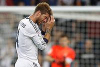 02.09.2012 SPAIN -  La Liga 12/13 Matchday 3th  match played between Real Madrid CF vs  Granada C.F. (3-0) at Santiago Bernabeu stadium. The picture show Sergio Ramos (Spanish defender of Real Madrid)