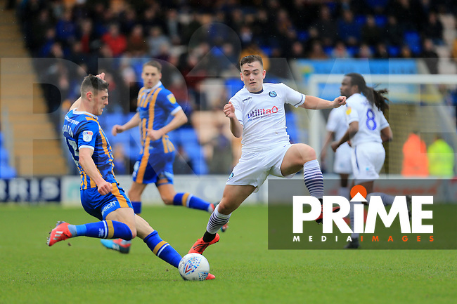 Luke Bolton of Wycombe Wanderers and James Bolton of Shrewsbury Town during the Sky Bet League 1 match between Shrewsbury Town and Wycombe Wanderers at Greenhous Meadow, Shrewsbury, England on 16 March 2019. Photo by Leila Coker / PRiME Media Images.