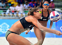 BARRANQUILLA - COLOMBIA, 30-07-2018:Estefanía Bethancourt y Natalia Girón (GUA) en Voley playa .Juegos Centroamericanos y del Caribe Barranquilla 2018. /Estefania Bethancourt  and Natalia Girón (GUA) in Beach volleyball of the Central American and Caribbean Sports Games Barranquilla 2018. Photo: VizzorImage /  Alfonso Cervantes /Contribuidor