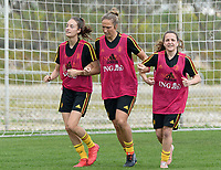 20180306 - LARNACA , CYPRUS :  Belgian Tessa Wullaert , Maud Coutereels and Davina Philtjens (r)  pictured during a Matchday -1 training from The Belgian Red Flames prior to their game against South Africa , on tuesday 6 March 2018 at the Alpha Sports Grounds in Larnaca , Cyprus . This will be the final game for Belgium during the Cyprus Womens Cup for a battle for the 5th place , a prestigious women soccer tournament as a preparation on the World Cup 2019 qualification duels. PHOTO SPORTPIX.BE | DAVID CATRY