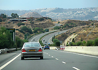 Beautiful highway from Limassol to Paphos in Cyprus passing through hills.