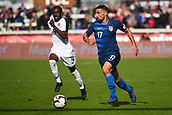 February 2nd 2019, San Jose, California, USA; USA midfielder Sebastian Lletget (17) carries the ball past Costa Rica defender Keysher Fuller (4) during the international friendly match between USA and Costa Rica at Avaya Stadium on February 2, 2019 in San Jose CA.