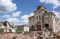 Remains of an Eastern Orthodox church after shelling near Donetsk International Airport, Eastern Ukraine, 18 May, 2015