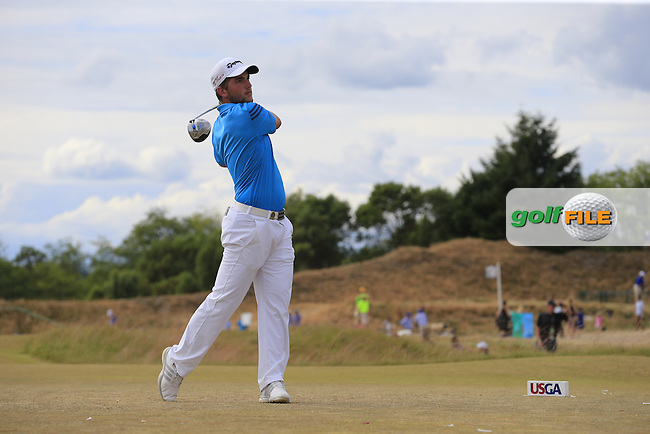 Bradley Neil (AM)(SCO) tees off the 4th tee during Thursday's Round 1 of the 2015 U.S. Open 115th National Championship held at Chambers Bay, Seattle, Washington, USA. 6/19/2015.<br /> Picture: Golffile | Eoin Clarke<br /> <br /> <br /> <br /> <br /> All photo usage must carry mandatory copyright credit (&copy; Golffile | Eoin Clarke)