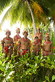INDONESIA, Mentawai Islands, Kandui Resort, group of male healers from the Sakobou tribe