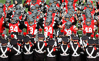 Ohio State Buckeyes players go through the Quick Cals drill prior to the NCAA football game at Ohio Stadium in Columbus on Nov. 26, 2016. (Adam Cairns / The Columbus Dispatch)