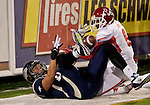 November 10, 2012: Nevada Wolf Pack receiver Zach Sudfeld can't make the catch at the back of the endzone against the Fresno State Bulldogs during their NCAA football game played at Mackay Stadium on Saturday night in Reno, Nevada.