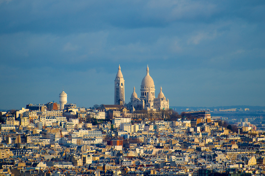 Montmartre as seen from the Eiffel Tower, Paris, France.