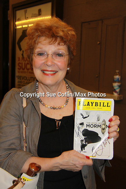 """Another World Anita Gillette """"Loretta Shea"""" saw the Broadway play Book of Mormon on the same night as Taye Diggs (Guiding Light, Private Practice, Rent) on September 28, 2011 at the Eugene O'Neill Theatre, New York City, New York.  (Photo by Sue Coflin/Max Photos)"""