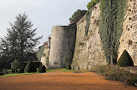 Ramparts and defensive tower, 13th century, at the medieval castle of Chateau-Thierry, Picardy, France. The first fortifications on this spur over the river Marne date from the 4th century and the first castle was built in the 9th century Merovingian period by the counts of Vermandois. Thibaud II enlarged the castle in the 12th century and built the Tour Thibaud, and Thibaud IV expanded it significantly in the 13th century to include 17 defensive towers in the walls and an East and South gate. The castle was largely destroyed in the French Revolution after having been a royal palace since 1285. In 1814 it was used as a citadel for Napoleonic troops. Picture by Manuel Cohen