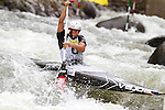 08.08.2015 La Seu d'Urgel, Lleida.ICF Canoe Slalom World Cup 4.  Picture show Denis Gargaud Chanut (FRA) in action during canoe single (C1) men final at Canal Olimpic