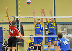 2015-10-24 / volleybal / seizoen 2015-2016 / Geel - Elen / De Bie (l) (Geel) slaat voorbij het blok van Medo (m) (Elen) en Royakkers (r) (Elen)