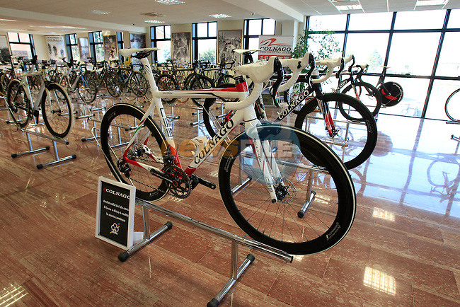 Colnago's C59 Disc brake bikes on display at the Colnago Museum and factory in Cambiago on the outskirts of Milan, Italy,15th March 2013. (Photo Eoin Clarke/www.newsfile.ie)