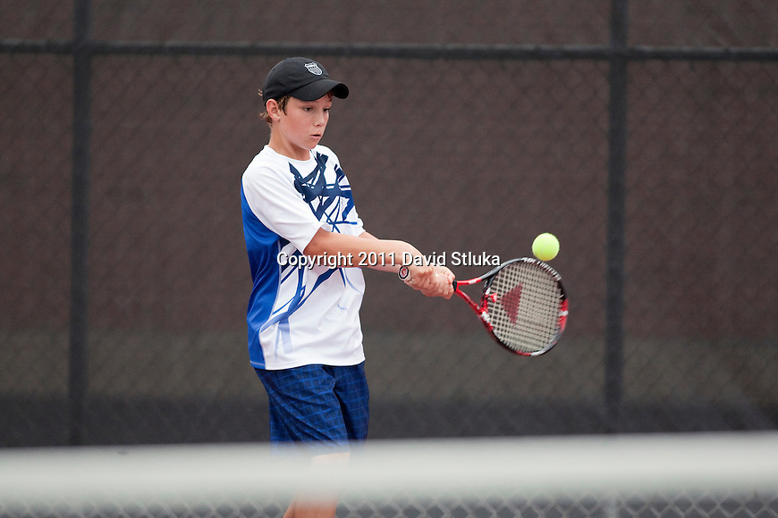 Jake Van Emburgh hits at the Nielsen Tennis Center in Madison, Wisconsin on XXXX.(Photo by David Stluka)