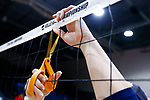 PENSACOLA, FL - DECEMBER 09: A Concordia University, St. Paul player cuts a portion of the net during the Division II Women's Volleyball Championship held at UWF Field House on December 9, 2017 in Pensacola, Florida. (Photo by Timothy Nwachukwu/NCAA Photos via Getty Images)