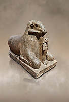 Ancient Egyptian statue of a Ram protecting King Amenhotep III, granite, New Kingdom, early 18th Dynasty (1390-1353), Karnak, Temple of Mut. Egyptian Museum, Turin. <br /> <br /> a figure of Amenhotep III as Osiris stands between the legs of the Ram. there is a hole in the top of the rams head for the insertion of a solar disk associating it to the god Amon, whose animal form is the ram, and with the sun god Re. The statue may have stood in the Soleb of Nubia. Drovetti Collection. C 836