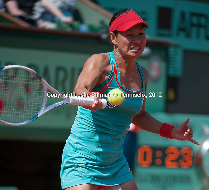 Kimiko Date-Krumm (JPN) loses at Roland Garros in Paris, France on May 29, 2012