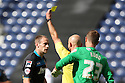 David Gray of Stevenage is booked by referee Roger East<br />  - Preston North End v Stevenage - Sky Bet League One - Deepdale, Preston - 14th September 2013. <br /> © Kevin Coleman 2013