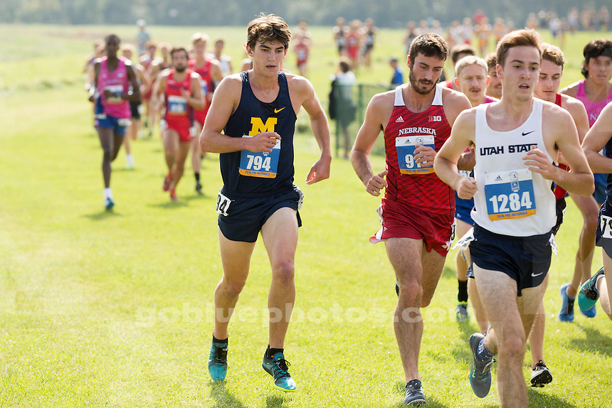 Michigan men's cross country runner Kevin Hall (794) competes at the Indiana State Pre-National Cross Country Invitational on Saturday, Oct. 15, 2016, in Terre Haute, Indiana. (Photo by James Brosher)