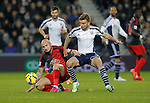 Jonjo Shelvey of Swansea competes with James Morrison of West Brom (right) - Premier League Football - West Bromwich Albion vs Swansea City - The Hawthorns West Bromwich - Season 2014/15 - 11th February 2015 - Photo Malcolm Couzens/Sportimage