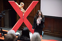 "Ashley Leon '19 talks about ""Revolution in the Courts: Balancing the Scales of Justice.""<br /> Occidental College hosts TEDxOccidentalCollege on April 21, 2018 in Choi Auditorium of Johnson Hall. Students, faculty, alums and guest speakers delivered their TEDx Talk on the theme, Shifting Ecosystems of Power.<br /> (Photo by Marc Campos, Occidental College Photographer)"