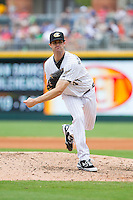 Charlotte Knights relief pitcher Scott Snodgress (47) in action against the Pawtucket Red Sox at BB&T Ballpark on August 10, 2014 in Charlotte, North Carolina.  The Red Sox defeated the Knights  6-4.  (Brian Westerholt/Four Seam Images)