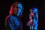 Artificial Intelligence researcher and Improvisation performer, Kory Mathewson and Blueberry the robot, on March 6, 2018.<br /> <br /> &not;&copy;2018 John Ulan