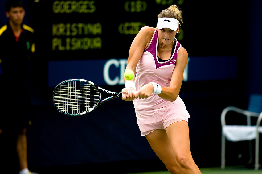 FLUSHING MEADOWS, NY - AUGUST 27:  Kristyna Pliskova (CZE) competes in a first round match of the US Open on August 27, 2012 at the USTA Billie Jean King National Tennis Center in New York. The US Open is the highest-attended annual sporting event in the world.