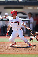 Cam Shepherd (7) of the Georgia Bulldogs follows through on his swing against the LSU Tigers at Foley Field on March 23, 2019 in Athens, Georgia. The Bulldogs defeated the Tigers 2-0. (Brian Westerholt/Four Seam Images)