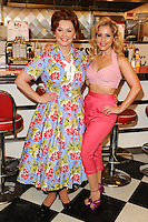 "Cheryl Baker and Heidi Range at the photocall for ""Happy Days The Musical"" at Ed's Easy Diner, Trocadero, London. 08/01/2014 Picture by: Steve Vas / Featureflash"