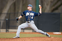 Akron Zips relief pitcher Daulton Mosbarger (4) in action against the Charlotte 49ers at Hayes Stadium on February 22, 2015 in Charlotte, North Carolina.  The Zips defeated the 49ers 5-4.  (Brian Westerholt/Four Seam Images)